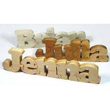 wooden name puzzle custom cut personalized gift handmade