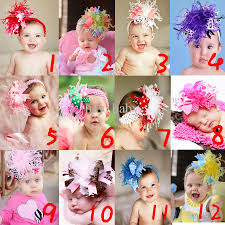 big flower headbands brand new baby feather headbands big flower party hair bow