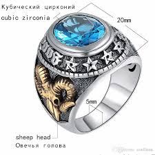 rock silver rings images Blue zircon men ring vintage stone punk rock gold sheep head thai jpg
