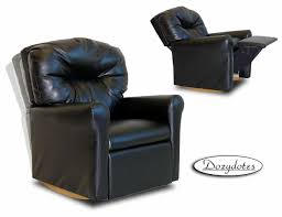 Leather Rocking Chair Kids Rocker Recliner Contemporary Black Leather Like Quick Ship