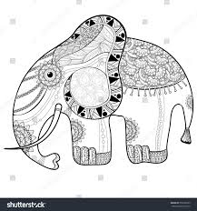 coloring book page adults elephant ethnic stock vector 358128353