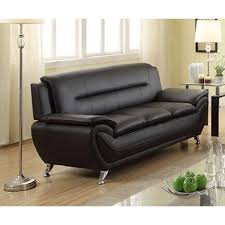 Black Faux Leather Sofa Deliah Modern Contemporary Black Faux Leather Sofa Free Shipping