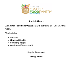 kosher chagne cleveland kosher food pantry schedule change for the week of purim
