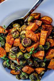 roasted sweet potatoes and brussels sprouts from the food
