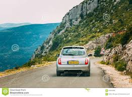 nissan micra rally car gray colour nissan micra car on background of french mountain na