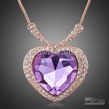 purple heart necklace images 2018 noble purple heart diamond rose gold chains charm necklace jpg