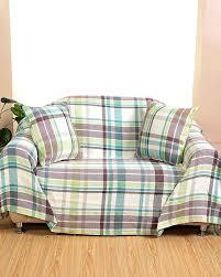 plaid coton canapé plaid ou jeté de canapé falun à carreaux verts en coton homescapes