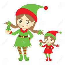 santa u0027s elf cute elf with a small christmas tree on a