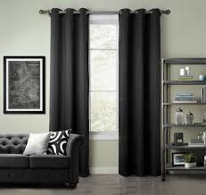 pair of kerry jacquard black blackout window curtain panels w grommets