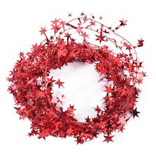 23 feet glittering red star shaped tinsel wire garland christmas