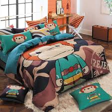 Girls Jungle Bedding by Chocolate Brown Teal Black And Orange Jungle Animal Themed Monkey