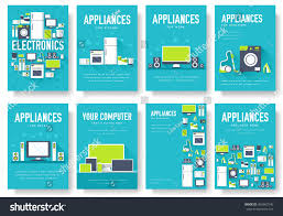 home appliances cards set electronics template stock vector