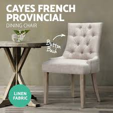 cayes dining chair linen fabric french provincial wood retro