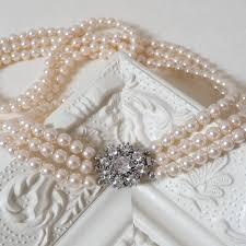 pearl flower necklace images Rhinestone flower three string pearl necklace by katherine swaine jpg