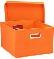 Collapsible Storage Box Orange Set of 2 in Decorative Storage