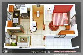 D Isometric Views Of Small House Plans Kerala Home Design And - One bedroom house designs