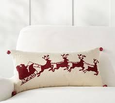 sleigh bell crewel embroidered lumbar pillow pottery barn