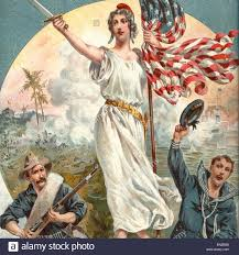 A American Flag Pictures Spanish American War Columbia Holding An American Flag And Sword