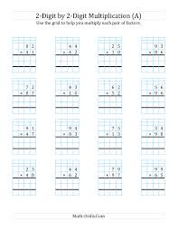 the 2 digit by 2 digit multiplication with grid support a math