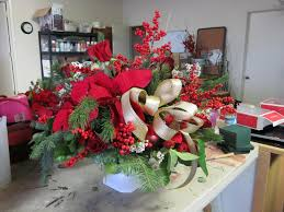 excellent red tape and colorful christmas table arrangements with
