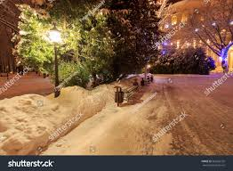 winter park night decorations lights benches stock photo 555665755