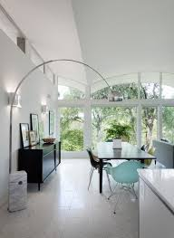 swag lamps dining room midcentury with arc lamp arched ceiling