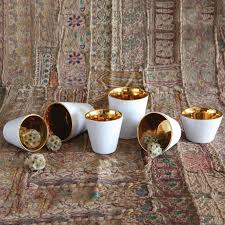 homart raas white ceramic votive cup gold interior low areohome