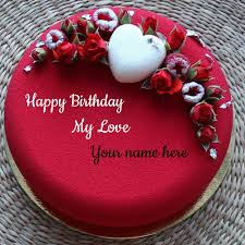 happy birthday romantic heart cake with lover name