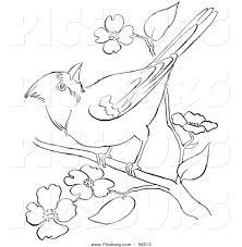clip art of a cardinal bird on a blossoming tree branch black