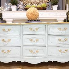 Where Can I Buy Shabby Chic Furniture by Bassett Nine Drawer Tranquility Green French Provincial Shabby