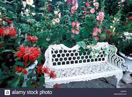Metal Garden Table And Chairs Uk Hollyhocks And Bee Balm Monarda Surround White Metal Garden Bench