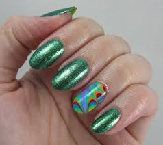 nerdy for nails seven days of st patrick u0027s rainbow water marble