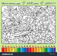 coloring page lots flowers big grasshopper stock vector 318114449