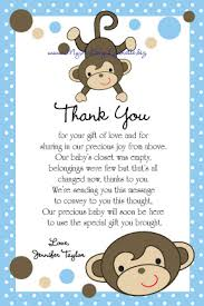 baby shower notes brown mokeys baby shower thank you card notes picture