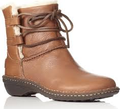 ugg australia womens caspia ankle boots with leather wrap ties ugg caspia sheepskinlined leather ankle boots in brown lyst