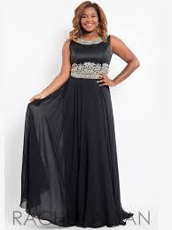 rachel allan curves 7828 beaded waist plus size prom gown