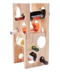 wall mounted wine rack made of wood and stainltess steel rods
