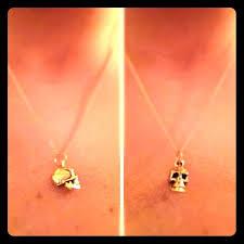Handmade In Nyc - dainty skull pendant gold brass pendant on chain handmade in nyc