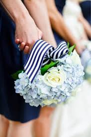 navy blue and white striped ribbon navy blue wedding flowers with striped ribbon for wedding