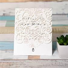 wedding invitations jakarta exquisite laser cut white pocket invitations