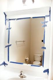bathroom mirror makeover frame around builder grade mirror