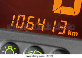 car mileage odometer of used car showing mileage of 999999 km stock photo