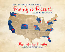 family gifts quote about families distance map gift for