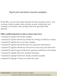 Sample Resume For Secretary by Top8unitsecretaryresumesamples 150331213545 Conversion Gate01 Thumbnail 4 Jpg Cb U003d1427855800