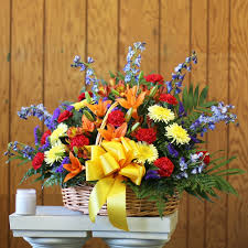 florist st louis bold and colorful mixed sympathy basket in louis mo hi