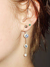 earring on ear earring