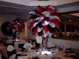 Centerpiece With Feathers by Vegas Themed Ostrich Feathers In Red Black U0026 White At The Rock