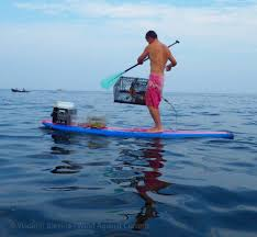 a stand up paddle board earns its keep wind against current