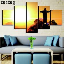 5 pieces canvas art jesus statue in sunset painting wall picture