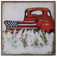 truck and flag square wood wall decor antique farmhouse